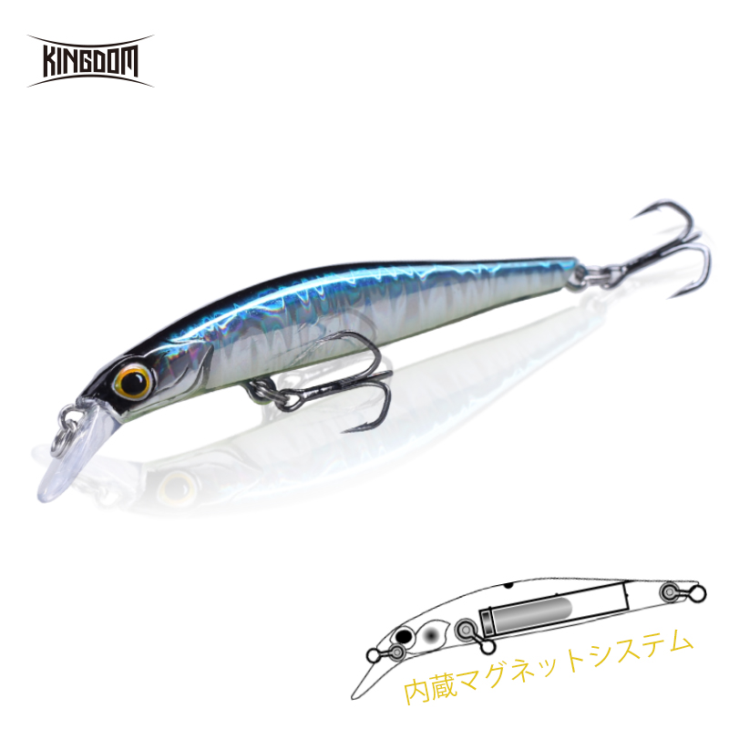 Kingdom Minnow Lure Bait Jerkbait Artificial Hard Wobblers Fishing Lure 80mm 9g/105mm 18.6g Sinking Action UV Coating Belly 9506