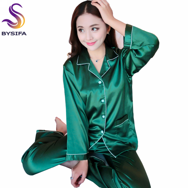 Spring Autumn Dark Green Silk Pajamas Set For Ladies 2017 New Home Apparel Lounge Solid Color Elegant Women Sleepwear Night Gown