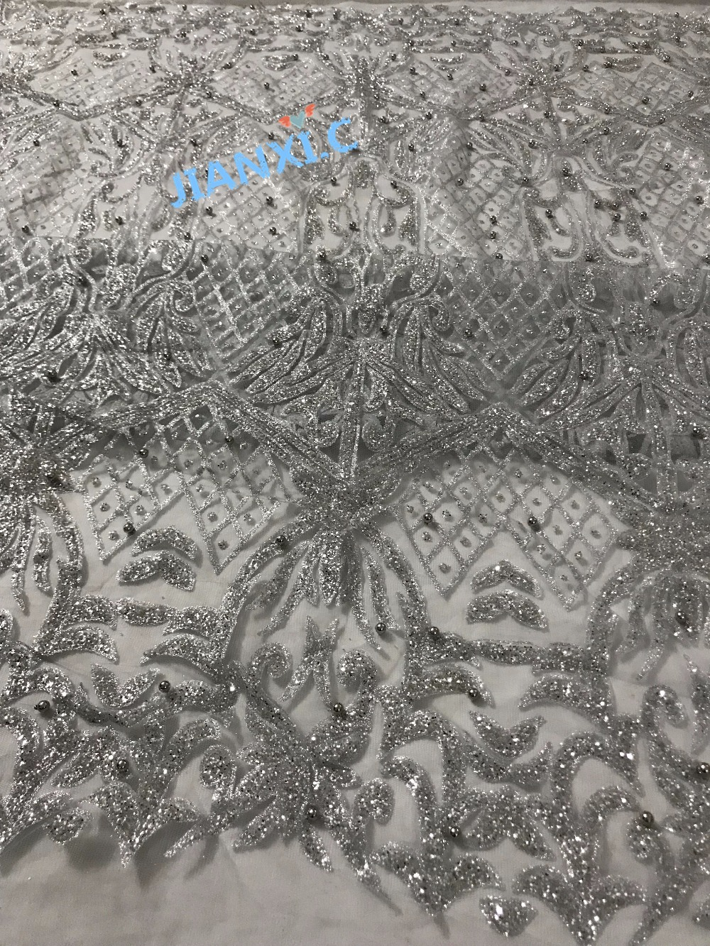 hot sale silver african Tulle lace fabric with beads CiCi 3960 African net lace with glued