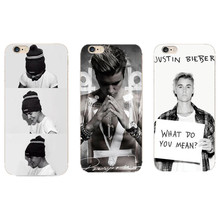 Justin Bieber Fashion Mobile Hard Clear Transparent Cover For Apple iPhone 4 4S 5 5S SE 5c 6 6s 6Plus 7 7Plus Phone Cases