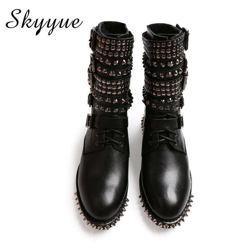 SKYYUE New Genuine Leather Metal Studded Round Toe Women Motorcycle Boots Cool Buckle Strap Women Low Heel Winter Boots Shoes elegant round toe hidden heel faux leather women boots buckle winter new fashion female shoes motorcycle footwear bota feminina