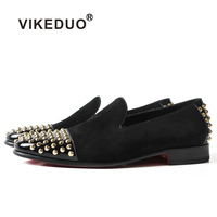 2018 Flat Shoes Hot Vikeduo Handmade Black Suede 100% Genuine Leather Fashion Casual Dress Party Original Design Mens Loafer