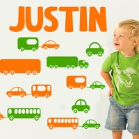 Customize Boys Name Vinyl Wall Sticker Art Home Decal Kids Nursery Room Train Cars Boys Room