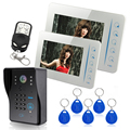 "Free Shipping!Ennio Touch Key 7"" Color  RFID Video Door Phone Doorbell Video Intercom System  5 ID Card Video Intercom 2 Monitor"