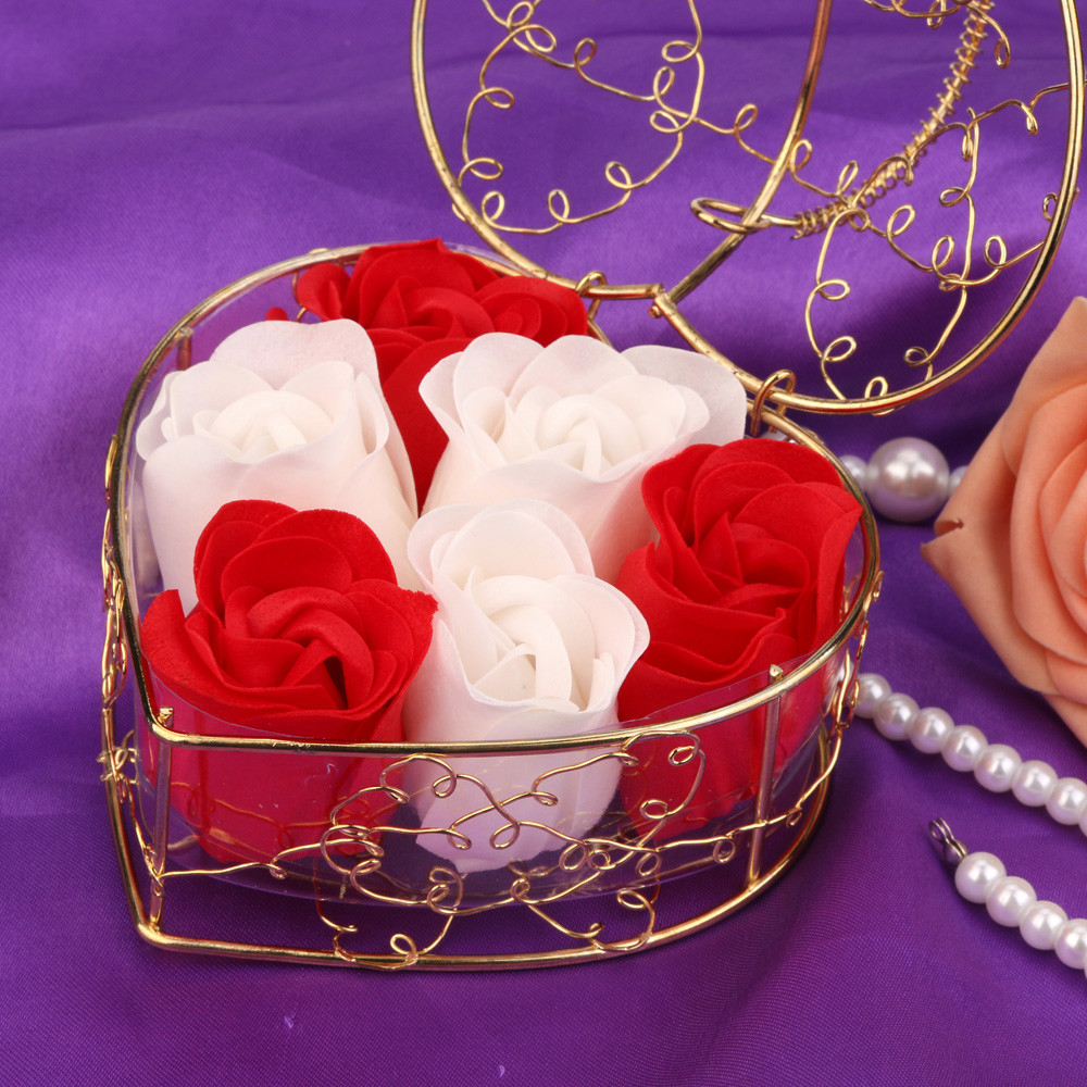 6Pcs Rose Soap Mixed Color Heart Scented Bath Body Petal Rose Flower Soap Wedding Decoration Best Gift For Lovers #26