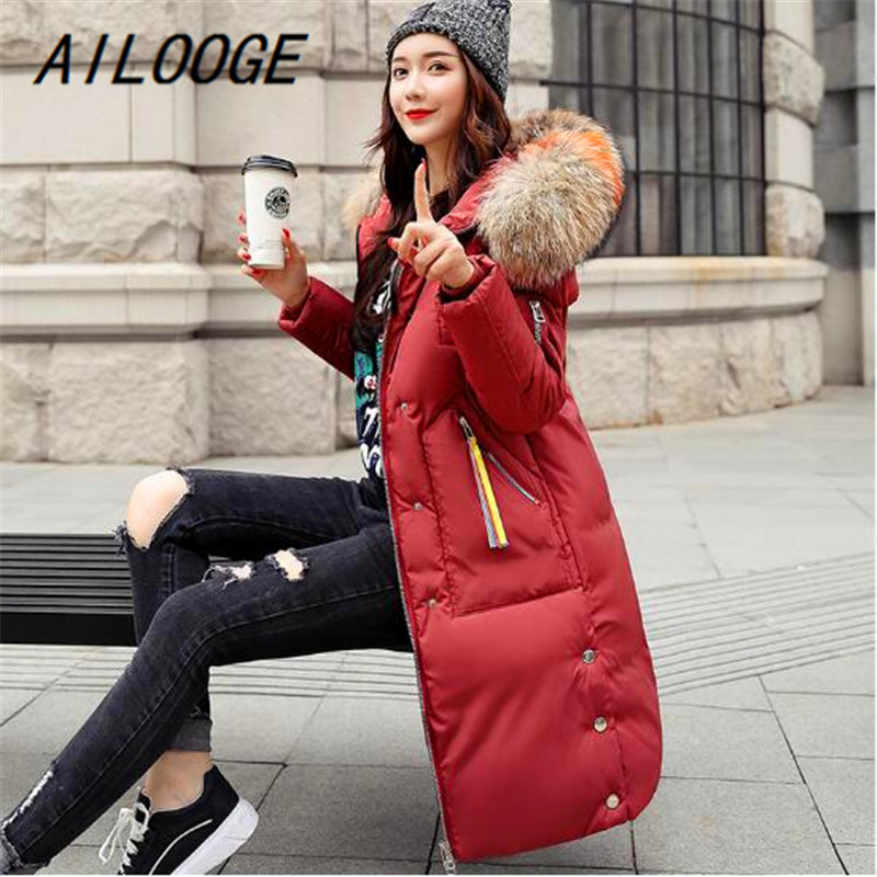 AILOOGE Women Winter   Down     Coat   Fashion Female Big Fur Collar Duck Long Parkas Thick Warm Elegant   Down     Coat   Slim Wadded Jacket