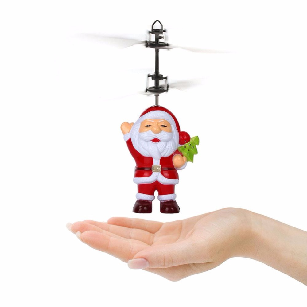 Helicopter Suspension Induction Induction Aircraft Santa Claus Flying Toy Anti-Impact Infrared Induction Toys For Children