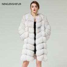 Натуральный Лисий Мех мех животных жилет 90 см длинное пальто рукава дизайн для женщин съемные рукава лисица высокого качества