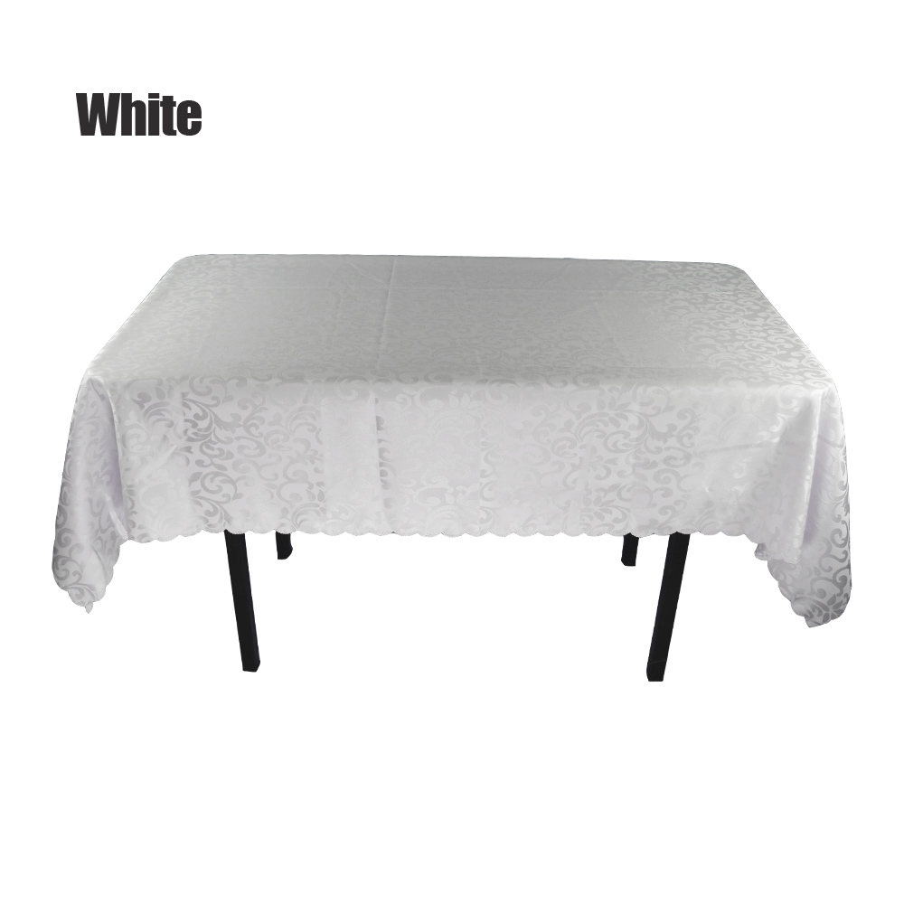 18pcs lot Customized 180 300cm Jacquard Table Cloth For Hotel Restaurant Wedding Party Decorative White Rectangle