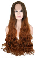 QQXCAIW Natural Hairline Hair Lace Front Wig Synthetic Hair Long Wavy Brown Ombre Fully Hair Wigs For Women