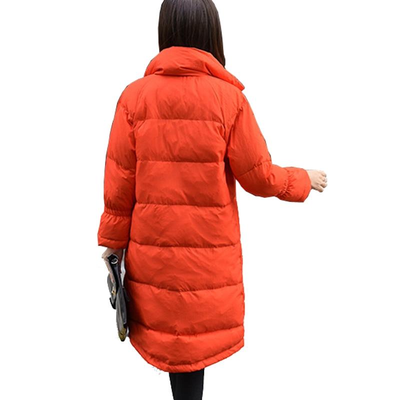 Solide Long Vestes Duvet Nouveau Coréen Taille orange Pain Grande Type Couleur Lâche De 2017 Manteau Col Black Za287 Canard Occasionnel white D'hiver Femmes Costume Veste xaRwqIdv