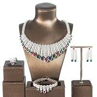 Luxury Wedding Jewelry Set Top Quality Zirconia Jewelry Water Drop Necklace Set for Bride Royal Wedding Jewelries