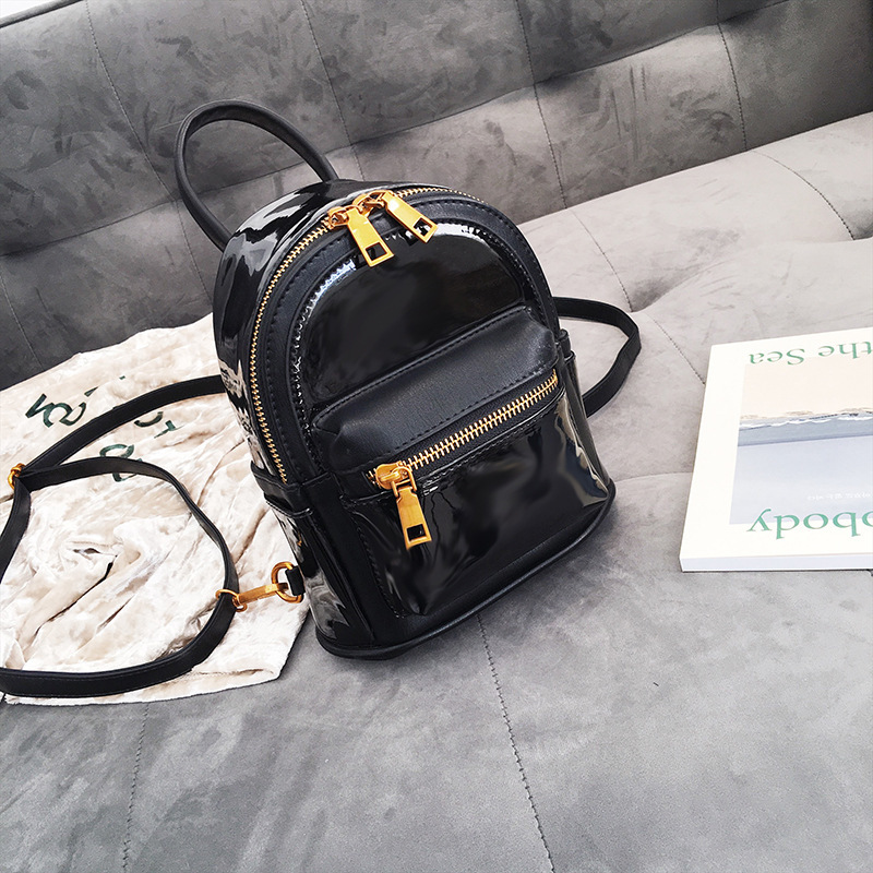 Mini Women Backpack Travel Kids 2018 New Patent Leather Cute Small Backpacks For School Teenagers Girls Black Back Pack T1580 alfani new black women s size small s mesh back high low ribbed blouse $59 259