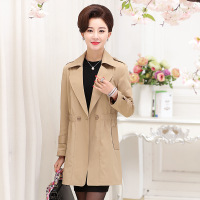 2017 Autumn lapel middle aged ladies fitted long sleeved jacket and long sections Slim casual windbreaker. AL223