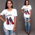 Senhoras da moda sapatos de salto alto Imprimir Shirt Mulheres Tops Casual O Neck Manga Curta Verão Shirt Mulheres Tops