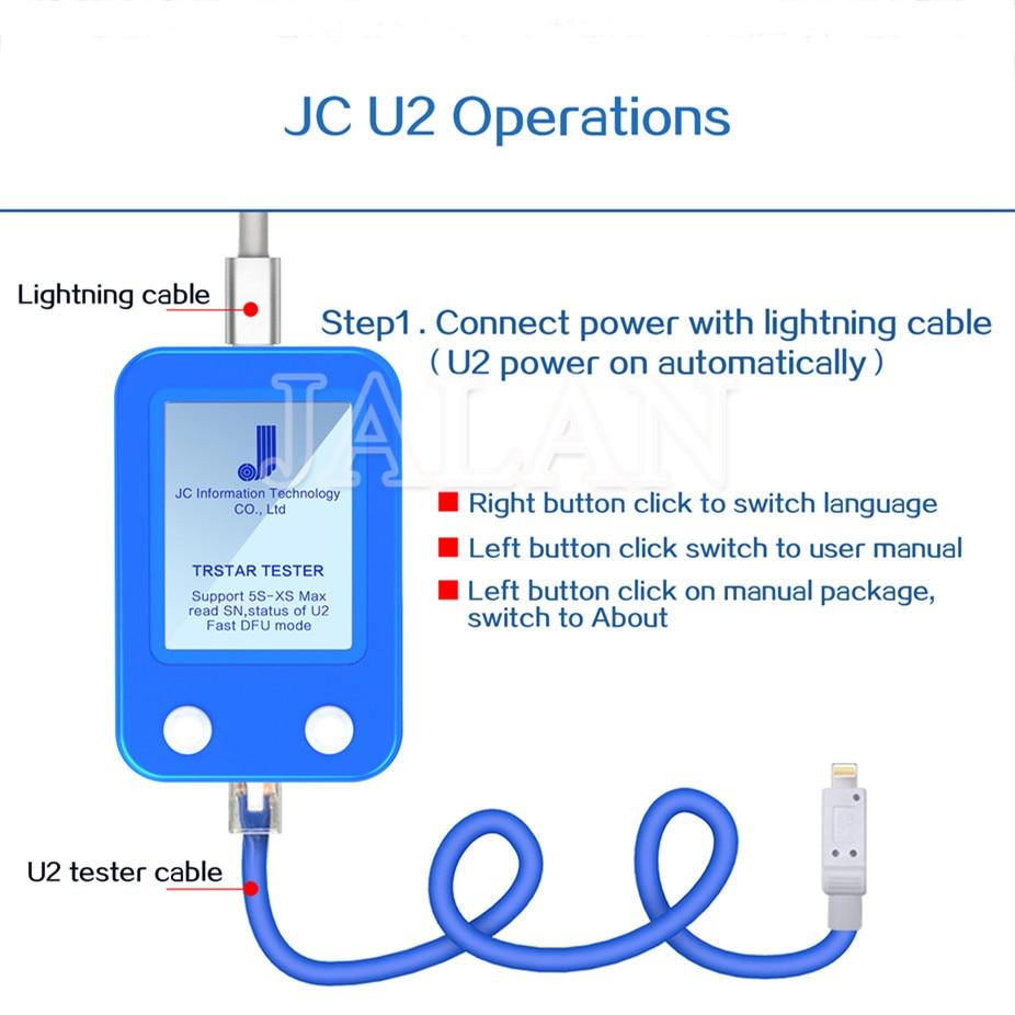 JALAN JC U2 Tristar testeur pour iPhone 5 S 6 S PLUS 7 8 P XS MAX U2 Charge IC défaut SN numéro de série DFU détecteur rapide outil