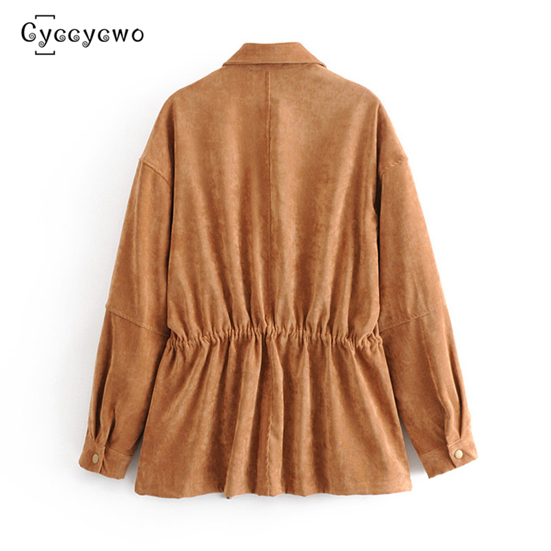 2019 New Brand Design Loose Jacket Women Causal Solid Corduroy Female Jackets Long Sleeve Coat Outwear Spring Coats we0075