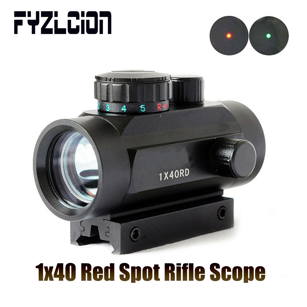 FYZLCION 1 X 40  Tactical Holographic Sight Green Red Dot Line Of Sight Crosshair Sight With 11mm Rail Mounted For Air Gun 20m