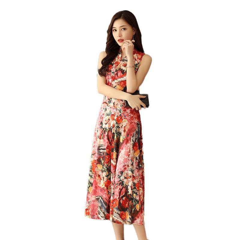 Női ruha 2019 Női ruhák Virágos nyomtatás V-nyakú ujjatlan fóliák Fit and Flare Sundress Hosszú strand stílus Vestidos ruhák