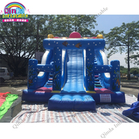 Giant Children's Playground Inflatable Children Slide Blue Jumping Inflatable Slide Fun City With Safety Protection Cloth