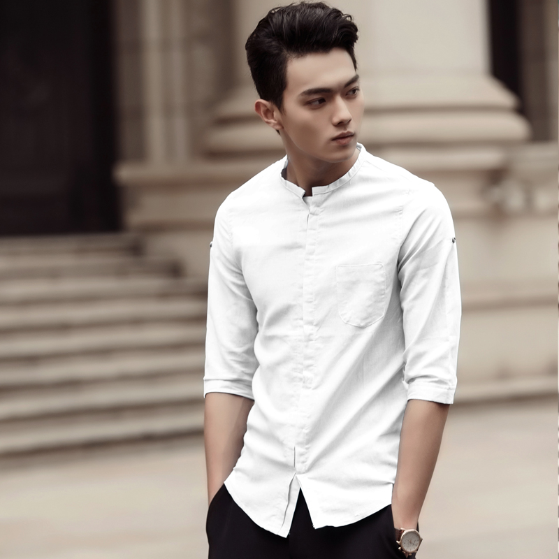 Fitted White Collared Shirt Custom Shirt
