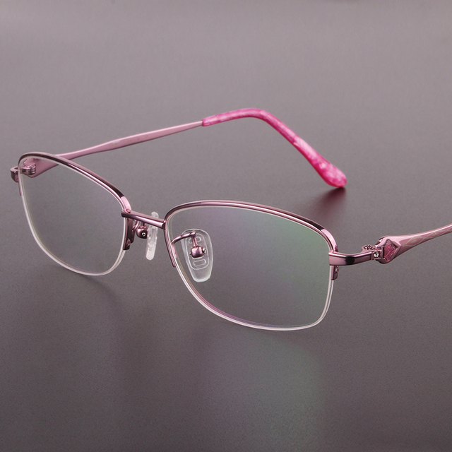 b8ed2c4ccd6 Designer Glasses Titanium Eyeglasses Frame Women Half frame Myopia Glasses  Prescription Glasses Optical Glasses Frame 320