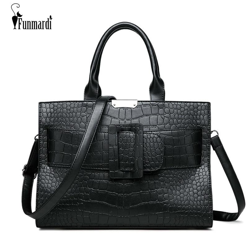FUNMARDI Luxury Crocodile Pattern Handbags Female PU Leather Brand Bag For Women Messenger Bags Simple Big Bag Shoulder WLHB1808 пылесборник filtero uns 01 3 экстра