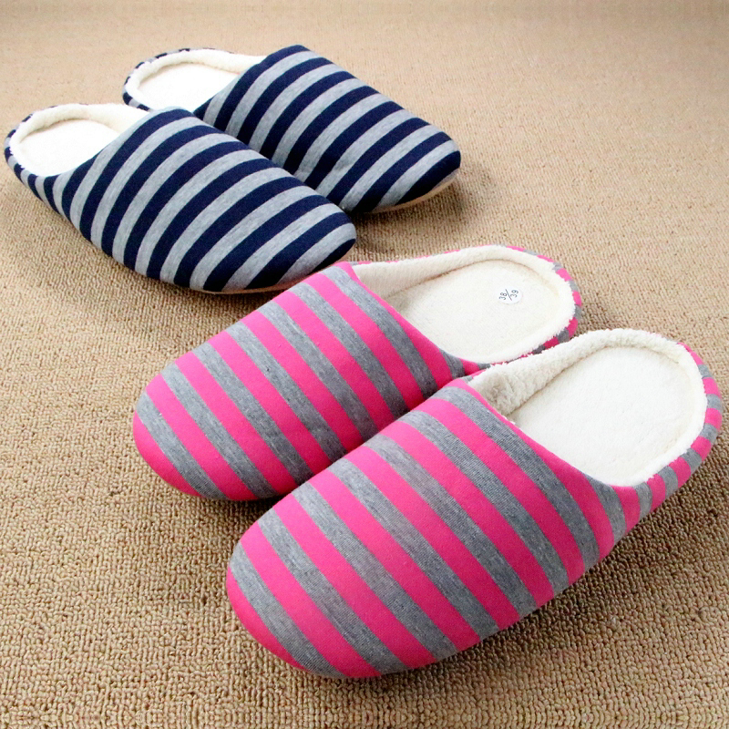 Cotton Plush Striped Slippers Home Shoe Comfortable Floor Women Indoor Slippers For Men Pantufa Pantoufle Femme Chinelos Homem autumn travel aviation hotel home shoes cotton padded folding slippers women men indoor floor slippers free shipping