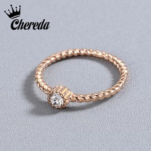 Chereda Simple Small Round Crystal Ring for Women Gold Color 7 Size Delicate Finger Knuckle Rings Wedding Party Gift недорго, оригинальная цена