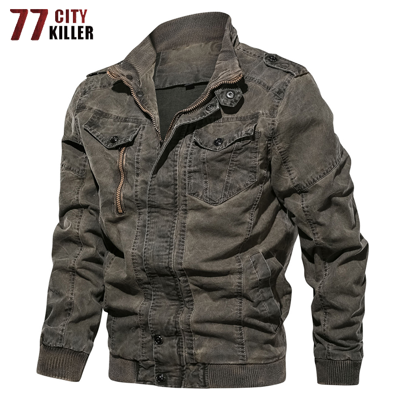 77City Killer Vintage Military Denim Jacket Men Brand Bomber Jackets Male Slim F