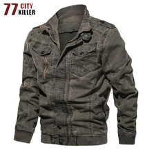 77City Killer Vintage Military Denim Jacket Men Brand Bomber