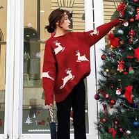 Women Christmas Deer Oversize Pullovers Sweaters Femme Red Beige Round Neck Loose Warm Knitwear 2018 Winter Sweater Big Size Top