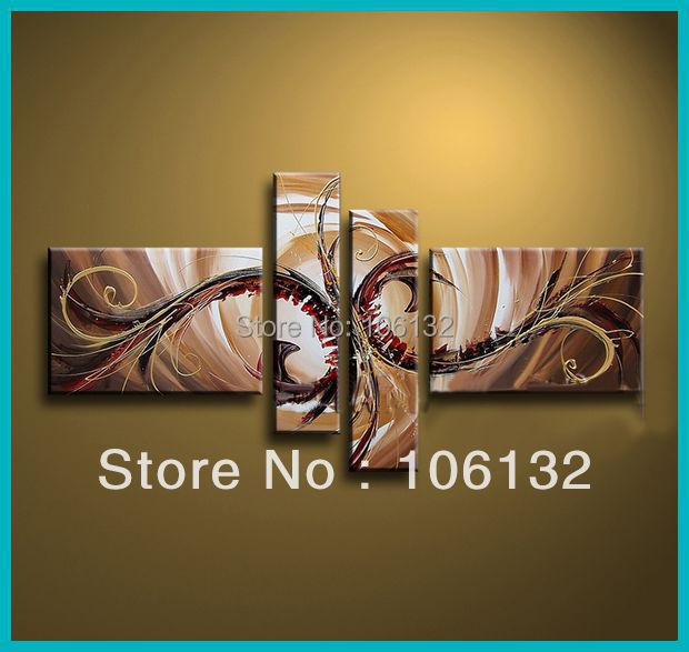 Framed 4 Panel Large High End Amazing Modern Oil Painting Brown Wall ...
