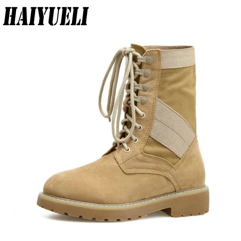 Women Celebrity Martin Boots Combat Troops Ankle Lace Up Riding Boots Round Toe Retro British Style Military Boots british style lace up and round toe design women s boots