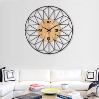 Northern Europe Style Metal Raw Wooden Big Needle Digital Clock Household Tea Room Decoration Crafts Brief Quartz Wall Clocks