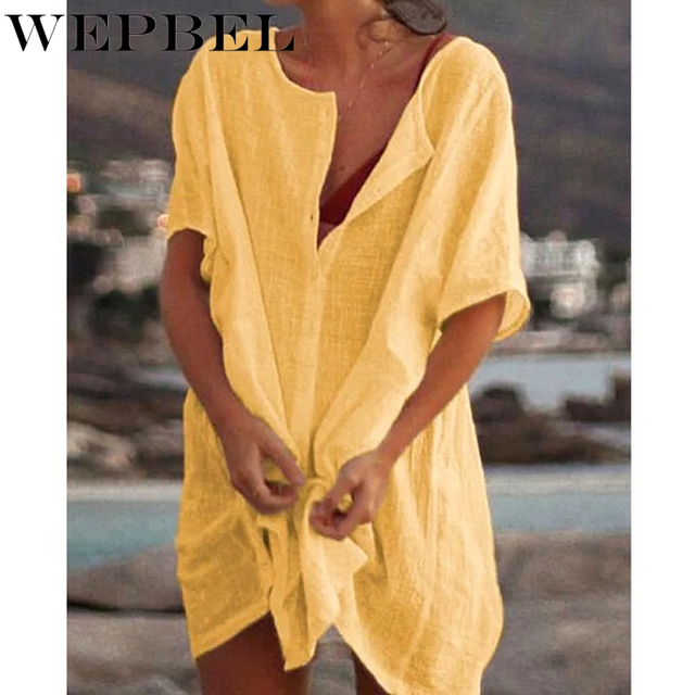 WEPBEL Womens Fashion Summer Short Sleeve Long Blouses Casual Loose Solid Color Plus Size Beach Wear Cover-up Short Linen Blouse 4