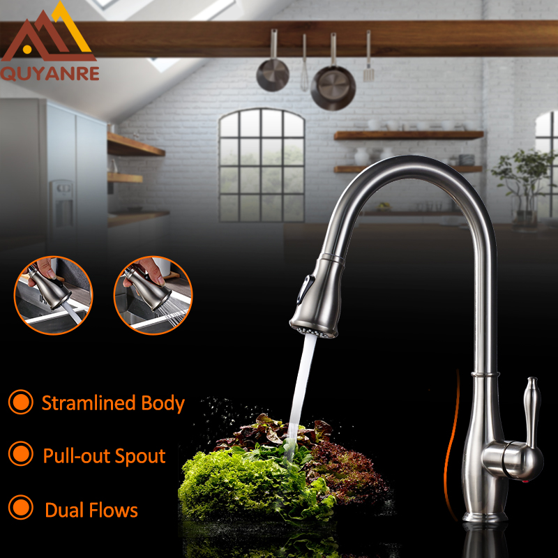 Quyanre Kitchen Faucet Brsuhed Nickel Chrome Pull-out Spout Kitchen Sink Faucets Single Handle Mixer Tap Vanity good quality wholesale and retail chrome finished pull out spring kitchen faucet swivel spout vessel sink mixer tap lk 9907
