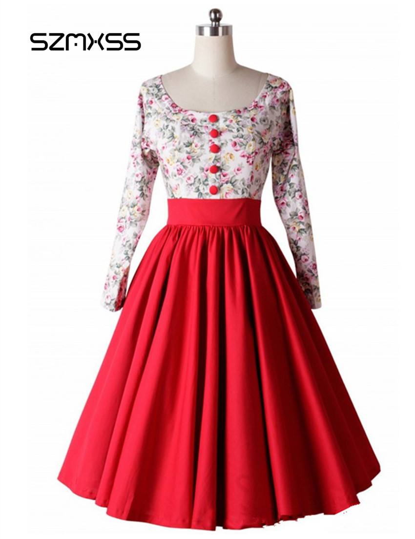 SZMXSS Print Floral 50S 60S Vintage Dresses Audrey Hepburn Rockabilly Dresses Woman Elegant Casual Long Sleeve