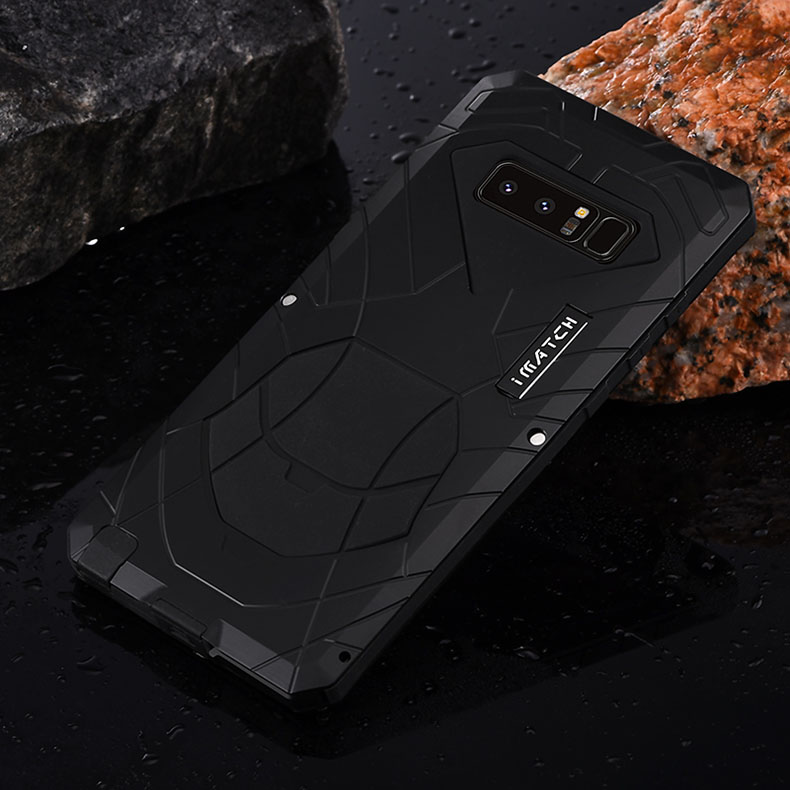 iMatch Water Resistant Shockproof Dust/Dirt/Snow-Proof Aluminum Metal Military Heavy Duty Armor Protection Case Cover for Samsung Galaxy Note 8
