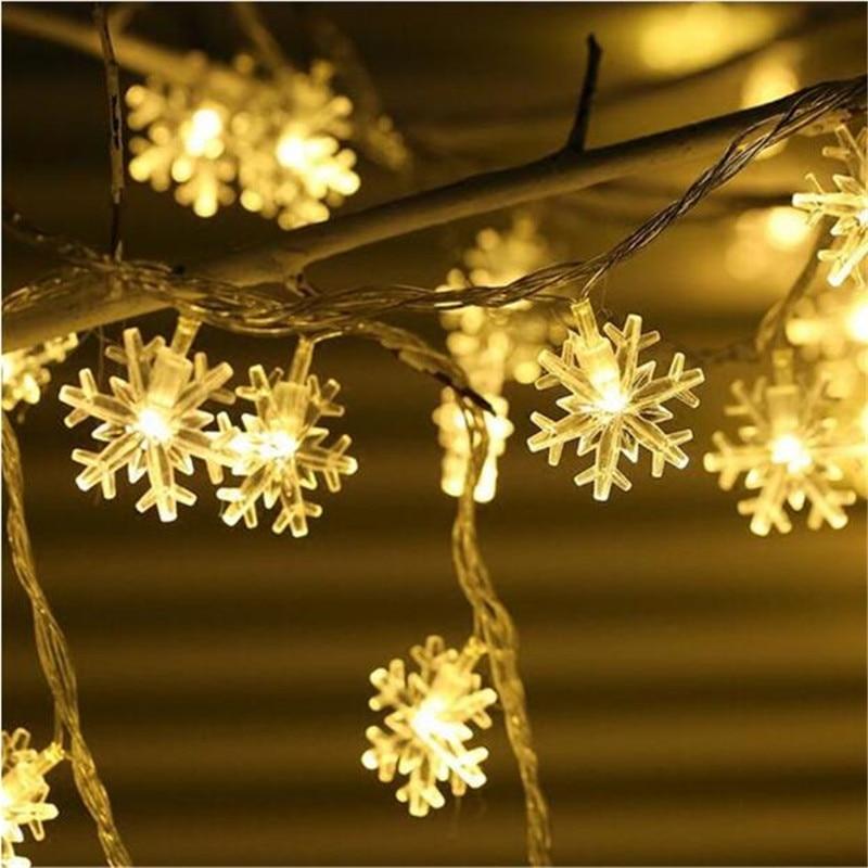 Nuovo 5 m 28 LED Fiocco di Neve Albero di Luce Leggiadramente Della Stringa Di Natale di Natale della Festa Nuziale camera Decorazione dell'interno Luci Natale UE spina 220 v