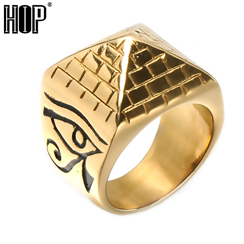 HIP Hop Rock Gold Color Horus Eyes Anubis Pattern Triangle Pyramid Ring Stainless Steel Men Signet Rings Jewelry Drop Shipping portable bicycle tire repair bike tools kits bicicletas bike accessories chain tool cycling kit herramientas bhu2