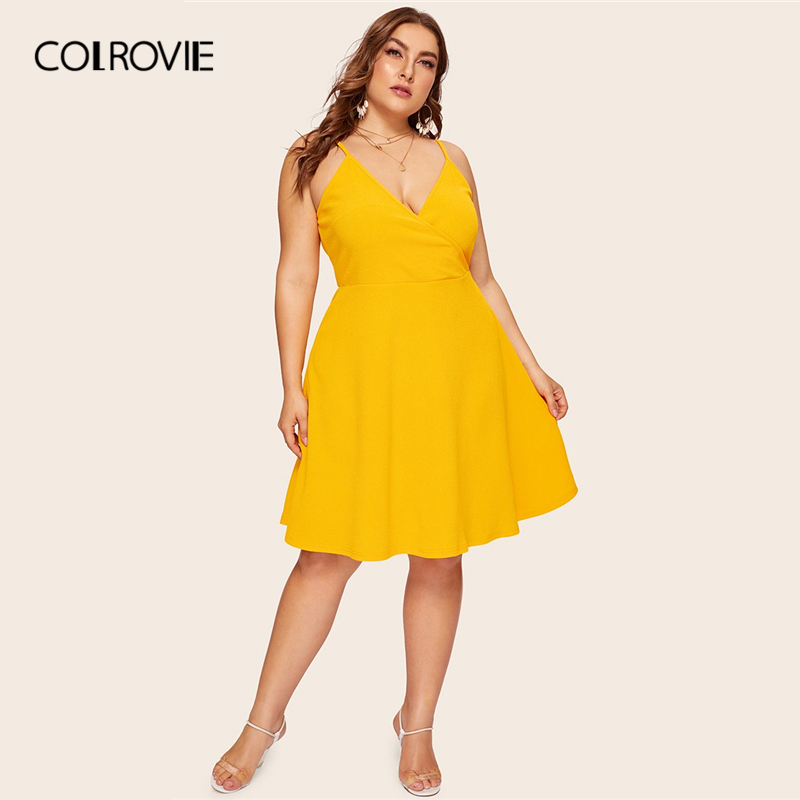 COLROVIE Yellow Cami Dress