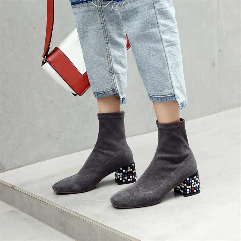 FEDONAS 1 Moda Kadınlar yarım çizmeler Sonbahar Kış sıcak Özlü Yüksek Topuklu Ayakkabılar Kadın Kare Ayak Zarif Ofis Bayan Temel Botları