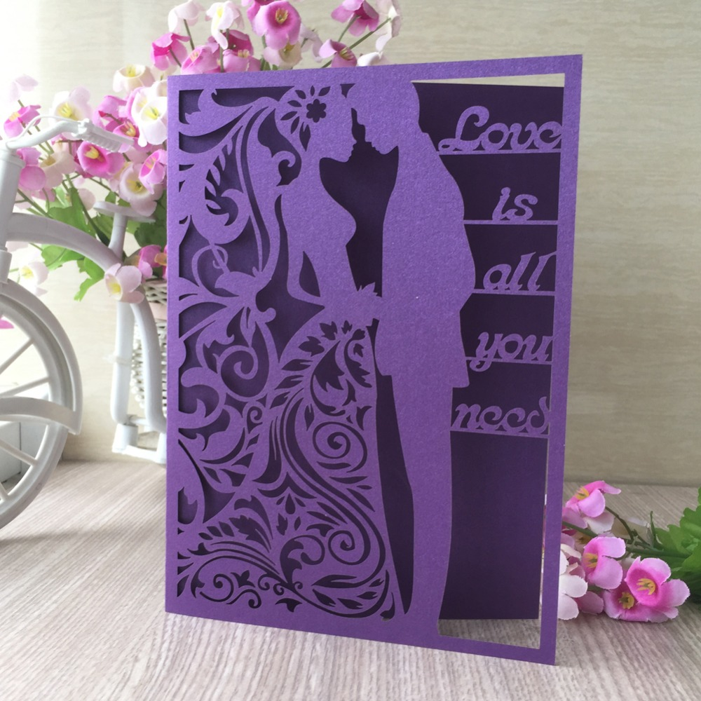 100pcslot Multi Color Laser Cut Wedding Invitations Wedding & Engagement Decorations Party Favor Greeting Blessing Card