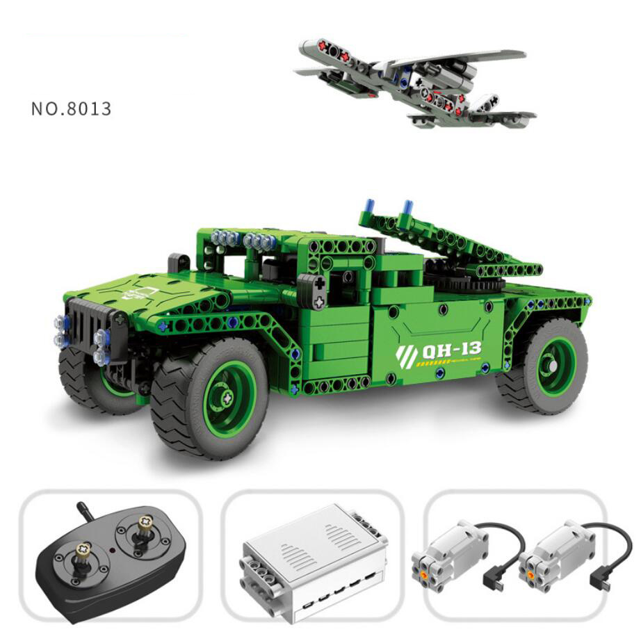 Moden military ww2 Vehicular unmanned aerial vehicle block 2.4Ghz radio remote control Hummer car model stacking bricks rc toys