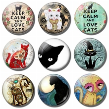 Cats 30 MM Fridge Magnet Glass Cabochon kitten Magnetic Refrigerator Stickers Note Holder Pussy Home Decor Cute Cat Lover Gift