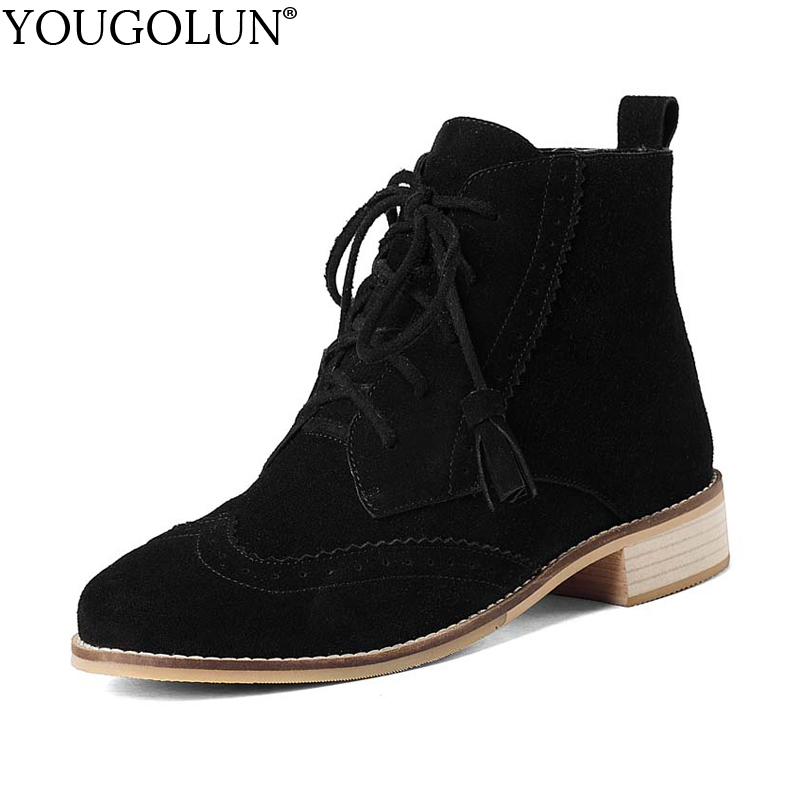 YOUGOLUN Women Ankle Boots 2017 Autumn Winter Genuine Cow Suede Low Heels Black Brown Lace-Up Tassel Square Heel Shoes #Y-084 front lace up casual ankle boots autumn vintage brown new booties flat genuine leather suede shoes round toe fall female fashion
