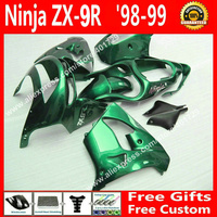 Hot sale Fairings for motorcycle1998 1999 Kawasaki ZX9R 98 99 zx9 glossy green bodywork fairing 6 gift MK45
