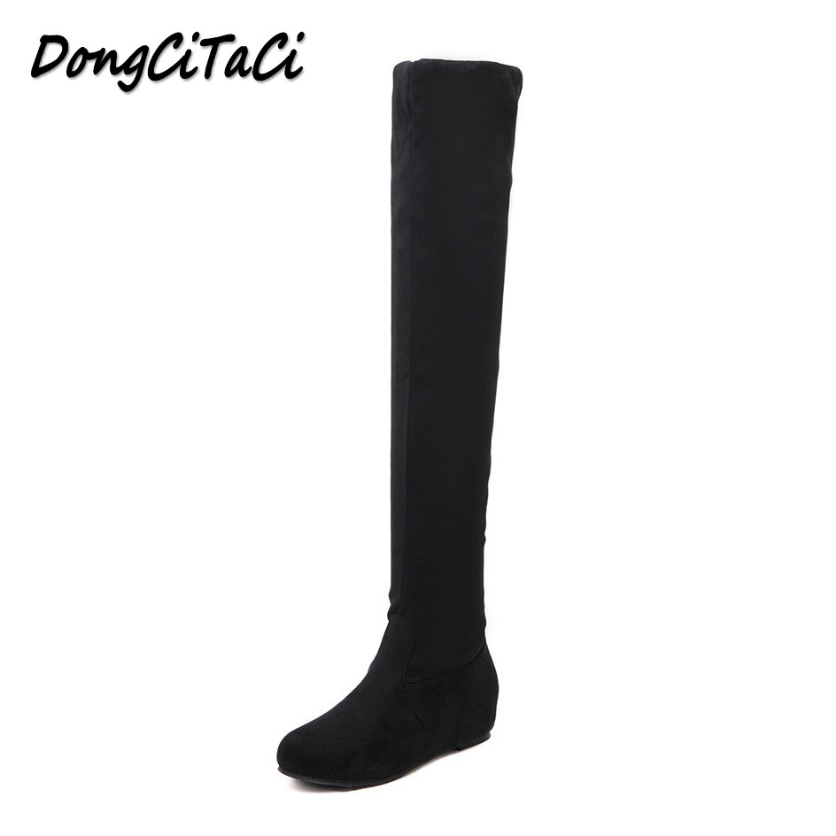 DongCiTaCi Women Boots Shoes Woman Over The Knee Autumn Winter Long Boots Wedge Heels Plus Size 35-42 Black Stretch Boots