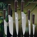 <font><b>XYJ</b></font> кухонные ножи для нарезки сантоку утилита парирование Дамасские вены ножи из нержавеющей стали цвет деревянной ручкой кухонные инструме...
